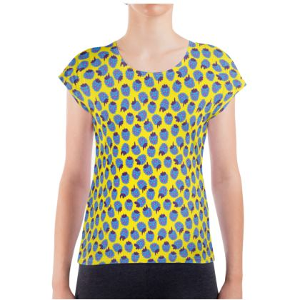 Blue Raspberry Waltz Ladies T Shirt In Bright Yellow