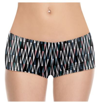 Black Geo hot pants