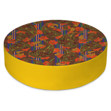 Paisley Stripe Round Floor Cushion