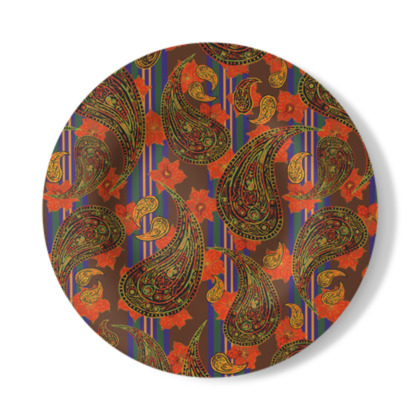 Paisley Stripe Decorative Plate