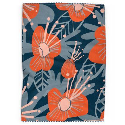 Azalea Flowers Floral Tea Towel