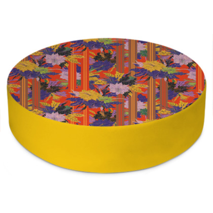 Floral Stripe Round Floor Cushion