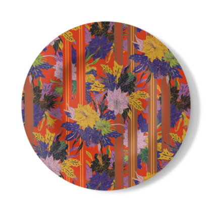 Floral Stripe Decorative Plate