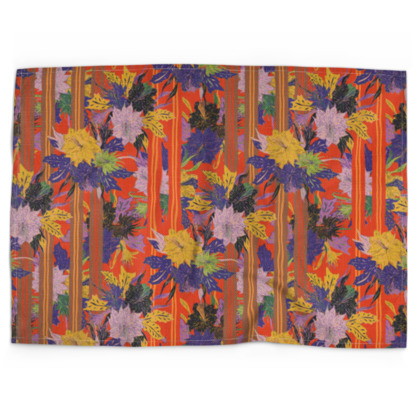 Floral Stripe Tea Towel