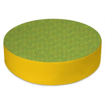 Lime Green Textural Dot Round Floor Cushion