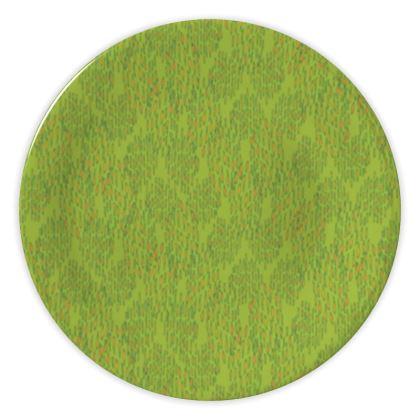 Lime Green Textural Dot China Plate