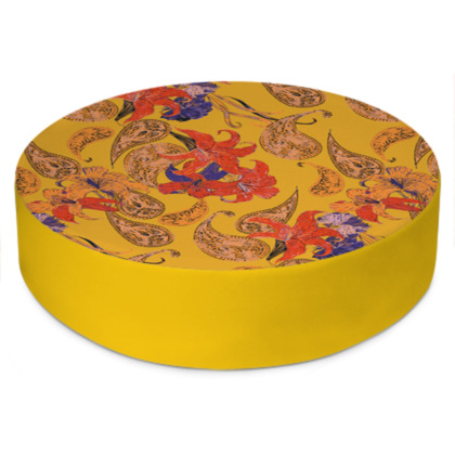 Paisleys and Lilies Round Floor Cushion