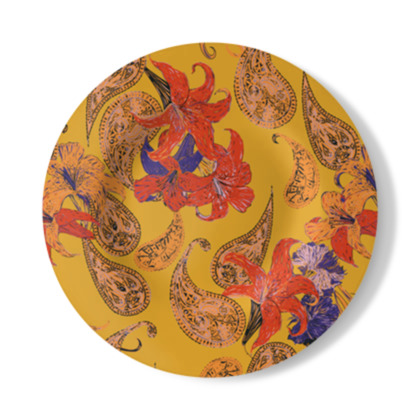 Paisleys and Lilies Decorative Plate