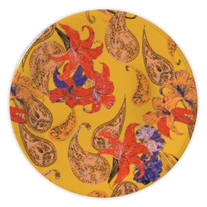 Paisleys and Lilies China Plates