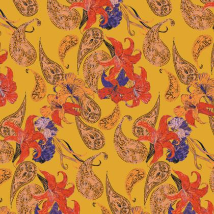 Paisleys and Lilies Fabric Placemat