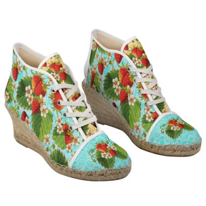 Ripe Strawberries Ripe Ladies Wedge Espadrilles