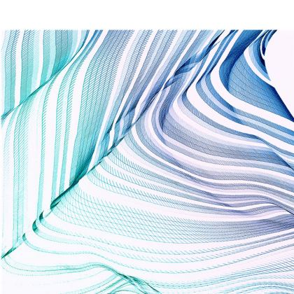 WAVE LOVE - Espadrilles in Blue and Mint Green on White