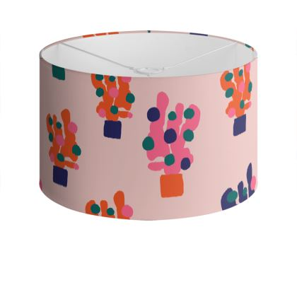 Cactus Print Drum Lamp Shade