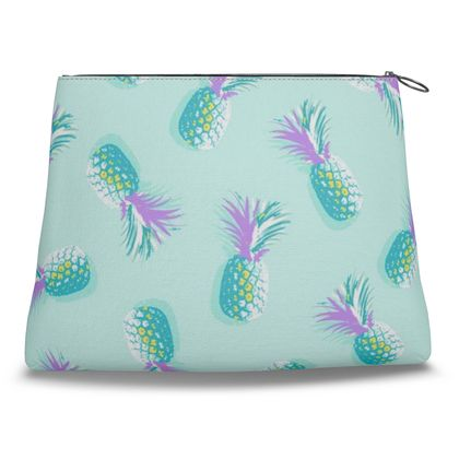 TROPICAL PINEAPPLE PARTY - Turquoise and Lavender on Aqua CLUTCH BAG