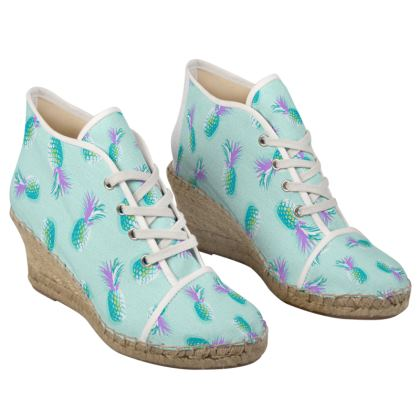 TROPICAL PINEAPPLE PARTY - Ladies Wedge Espadrilles in Turquoise and Lavender on Aqua