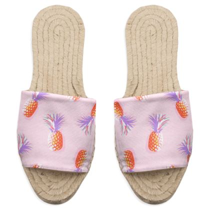 TROPICAL PINEAPPLE PARTY - Sandal Espadrilles in Coral & Lavender on Pink