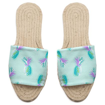 TROPICAL PINEAPPLE PARTY - Sandal Espadrilles in Turquoise & Lavender on Aqua
