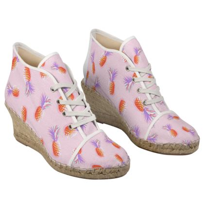 TROPICAL PINEAPPLE PARTY - Ladies Wedge Espadrilles in Coral and Lavender on Pink