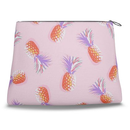 TROPICAL PINEAPPLE PARTY - Coral and Lavender on Pink Clutch Bag