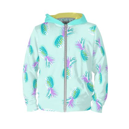 TROPICAL PINEAPPLE PARTY - Turquoise and Lavender on Aqua - Hoodie