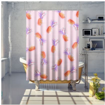TROPICAL PINEAPPLE PARTY - Coral, Lavender and Yellow accents on Pink Shower Curtain