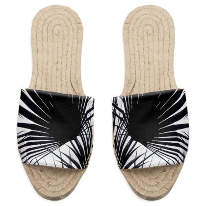 BLACK AND WHITE TROPICAL LEAVES - Sandal espadrilles