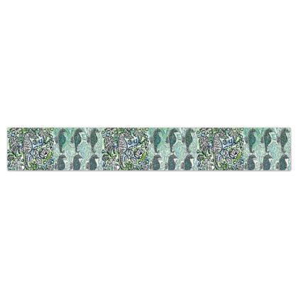 'Seahorse II' Wallpaper Border in White and Green
