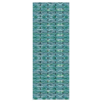 'Ocean Waves' Wallpaper in Green and Blue