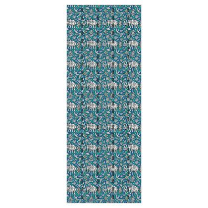 'Oriental Elephants' Wallpaper in Blue and Green