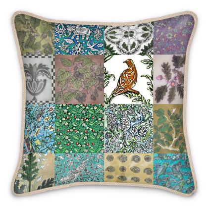 'Miscellany' Silk Cushion in multi-colour