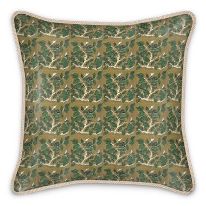 'Hornbeam' Silk Cushion in Brown and Green