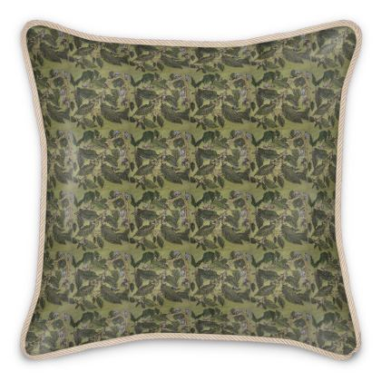 'Beechleaf' Silk Cushion in Green