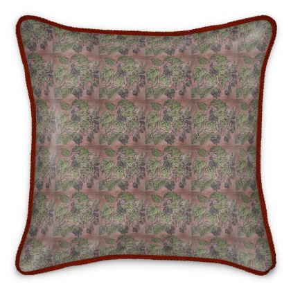 'Alderleaf' Silk Cushion in Pink and Green