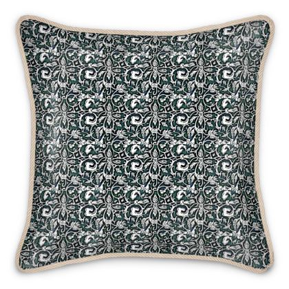 'Victoriana' Silk Cushion in Black, White and Green