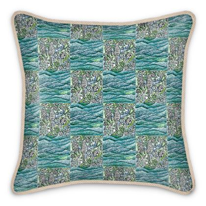 'Underwater' Silk Cushion in Blue and White