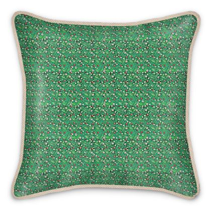 'Strawberries' Silk Cushion in Green and Red