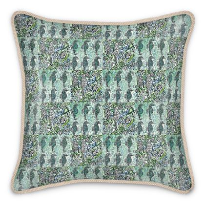 'Seahorse II' Silk Cushion in Blue and White