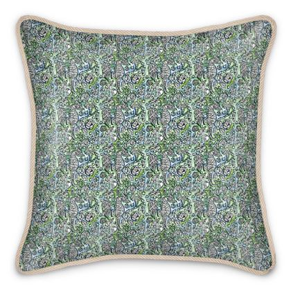 'Seahorse' Silk Cushion in Blue and Green