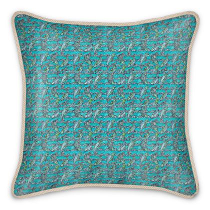'Pisca' Silk Cushion in Blue and White