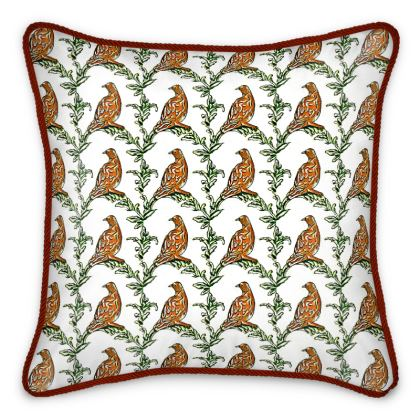 'Partridge' Silk Cushion in White and Brown