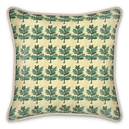 'Vervayne' Silk Cushion in Cream and Green