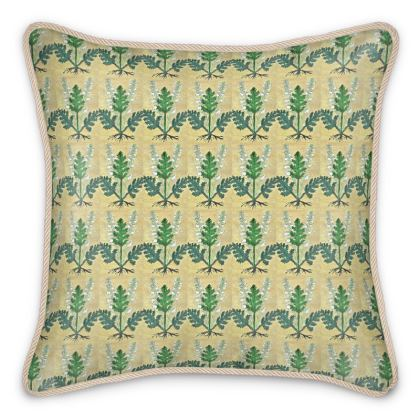 'Acanthus' Silk Cushion in Cream and Green