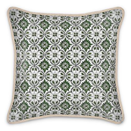 'Majolica' Silk Cushion in Green and White