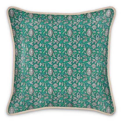 'Fantasia' Silk Cushion in Green and White