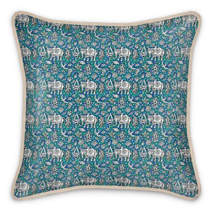 'Oriental Elephants' Silk Cushion in Green and Blue