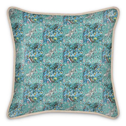 'Patterned Chinoiserie' Silk Cushion in Blue