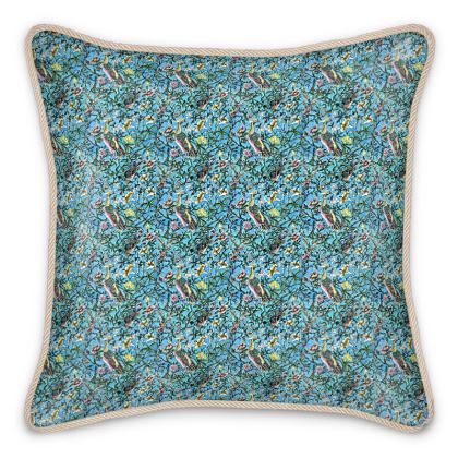 'Classic Chinoiserie' Silk Cushion in Blue