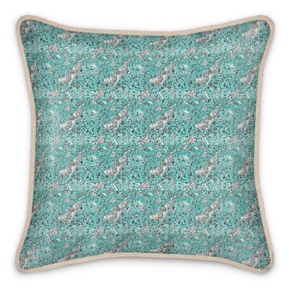 'Blue Chinoiserie' Silk Cushion