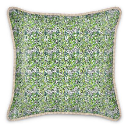 'Butterflies' Silk Cushion in Green and White