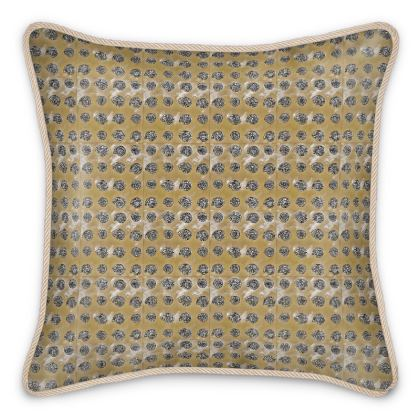 'Ammonites' Silk Cushion in Cream and Brown